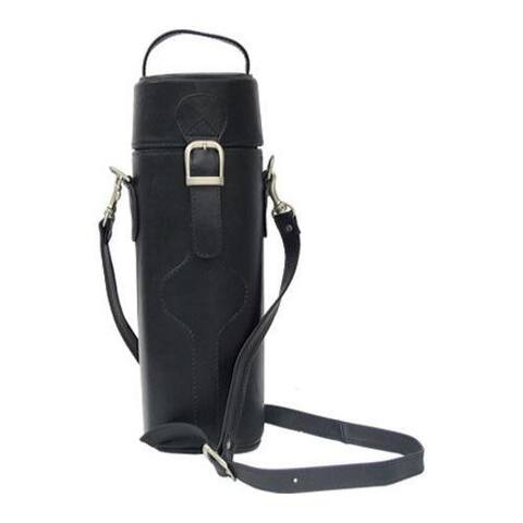 Piel Leather Black Single Deluxe Wine Tote Carrier
