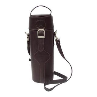 Piel Leather Chocolate Single Deluxe Wine Tote Carrier