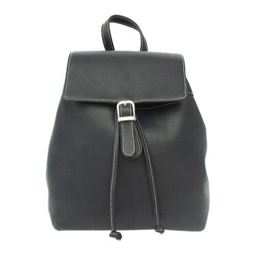bf456d389a741 Shop Women's Piel Leather Top Flap Drawstring Backpack 2400 Black Leather -  Free Shipping Today - Overstock - 9375034