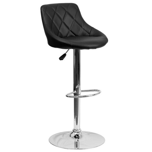 Black Vinyl Bucket Seat Adjustable Bar Stool with Chrome Base Set of 2