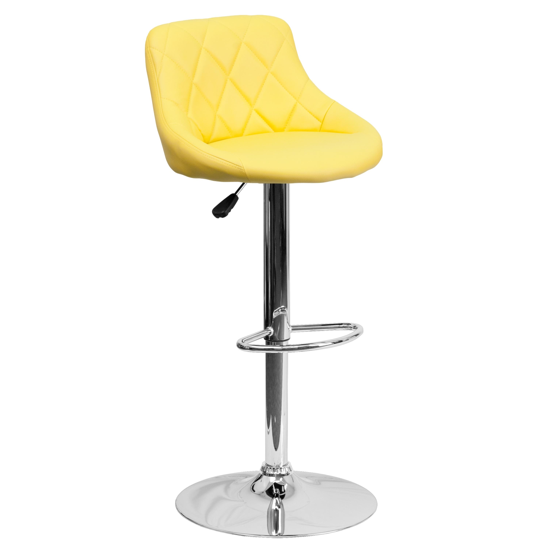 FLASH Furniture Black Vinyl Bucket Seat Adjustable Bar St...