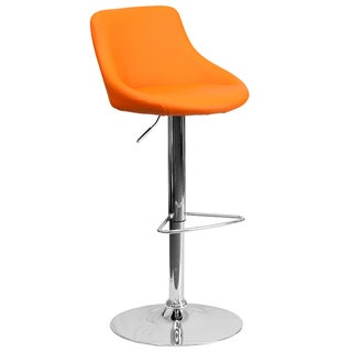 Black Vinyl Bucket Seat Adjustable Bar Stool (Set of 2)