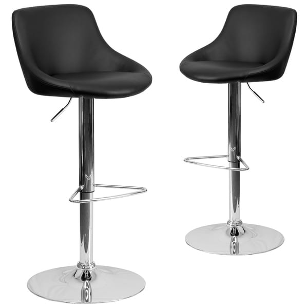 070e71d703bd 2 Pk. Contemporary Vinyl Bucket Seat Adjustable Height Barstool with Chrome  Base