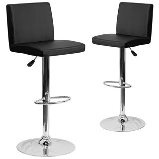 Black Vinyl Adjustable Height Stool with Chrome Base (Set of 2)