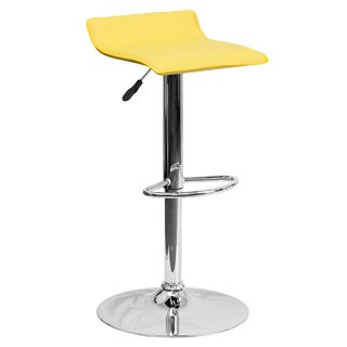 Black Vinyl Adjustable Height Bar Stool with Chrome Base (Set of 2)
