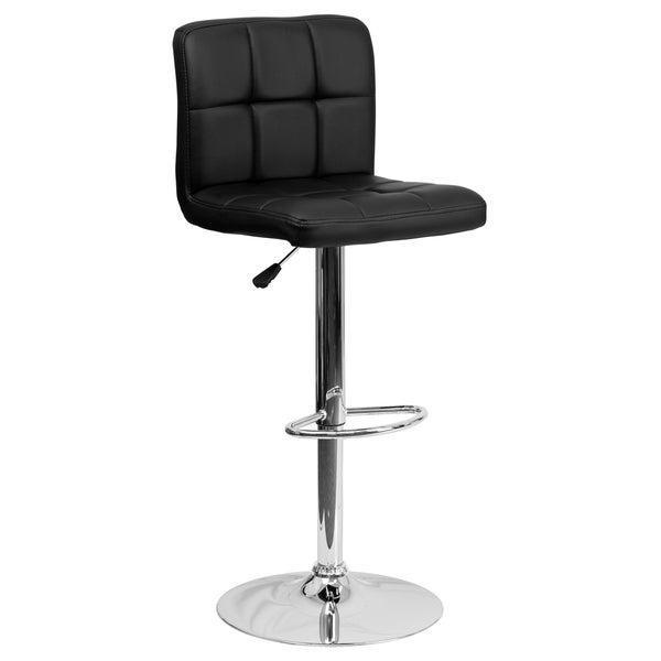 Black Quilted Vinyl Adjustable Bar Stool With Chrome Base