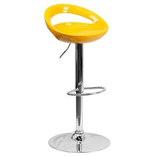 Plastic Adjustable Bar Stool with Chrome Base (Set of 2)