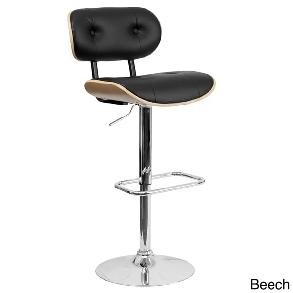 Beech Bentwood Adjustable Bar Stool With Button Tufted