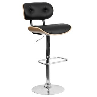 Beech Bentwood Adjustable Bar Stool with Button Tufted Black Vinyl Upholstery