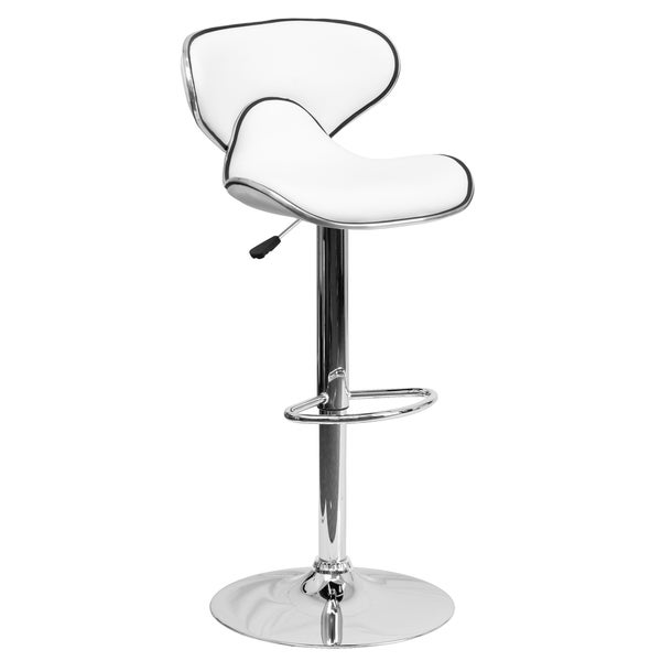 Adjustable Stool With Back Part - 15: Contemporary Mid-Back Black Vinyl Adjustable Bar Stool With Chrome Base  (Set Of 2) - Free Shipping Today - Overstock.com - 16565977