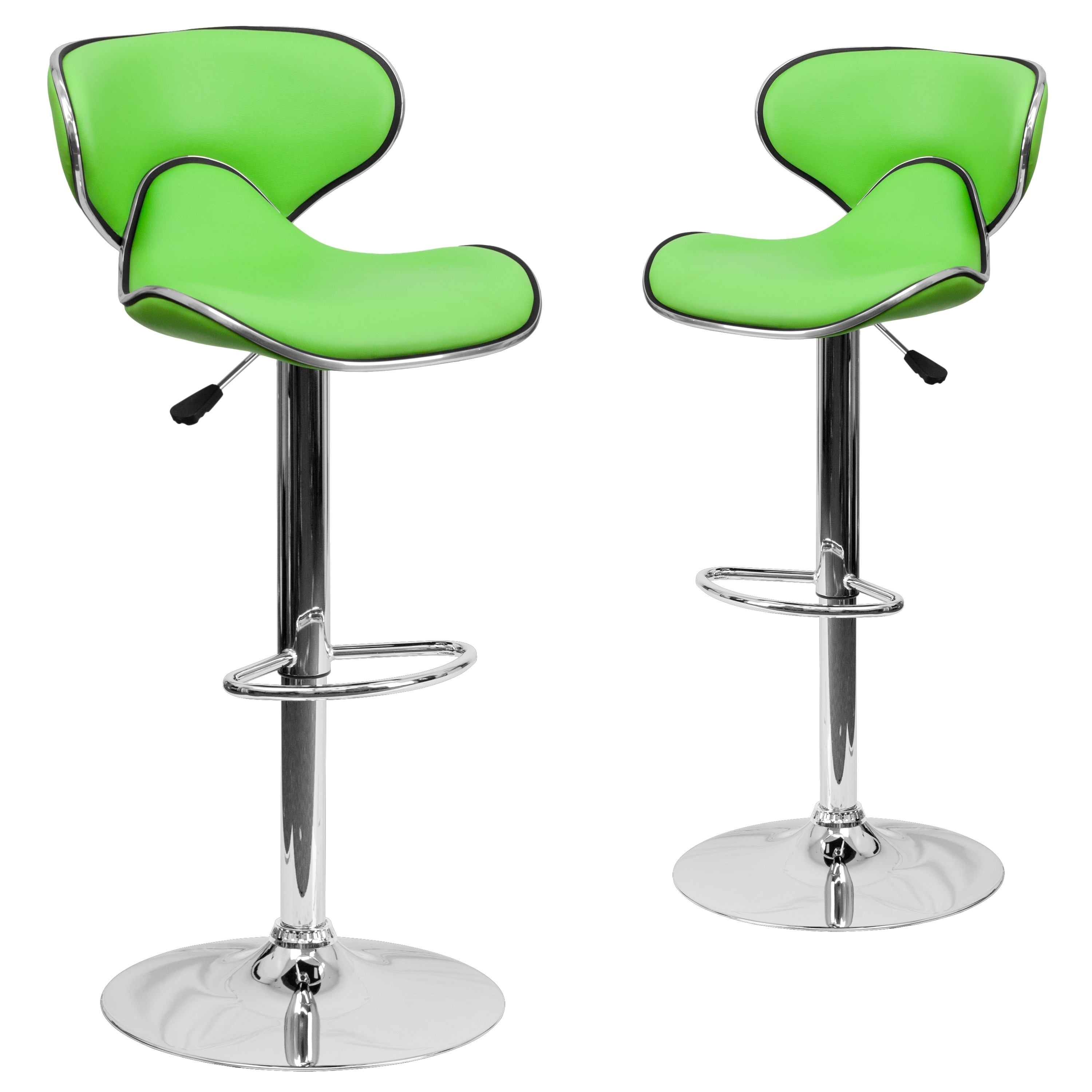 Contemporary Mid-Back Green Vinyl Adjustable Height Bar Stool with Chrome Base