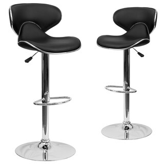 Contemporary Mid-Back Black Vinyl Adjustable Bar Stool with Chrome Base (Set of 2)