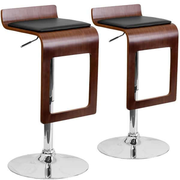 Magnificent Beech Bentwood Adjustable Bar Stool With Black Vinyl Seat And Cutout Back Set Of 2 Pabps2019 Chair Design Images Pabps2019Com