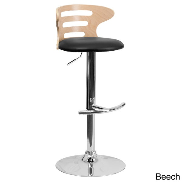 Adjustable Stool With Back Part - 29: Beech Bentwood Adjustable Bar Stool With Black Vinyl Seat And Cutout Back -  Free Shipping Today - Overstock.com - 16565980