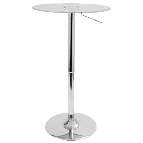 LumiSource 23-inch Clear Acrylic Adjustable Bar Table