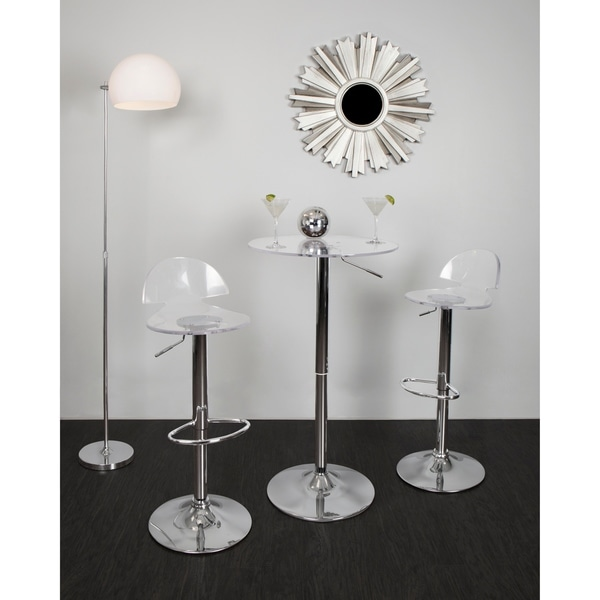High Quality LumiSource 23 Inch Clear Acrylic Adjustable Bar Table   Free Shipping Today    Overstock.com   16566047
