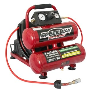 Speedway 2-gallon Twin Stack Compressor with 25' Air Hose and Auto-rewind Hose Reel