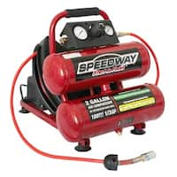Speedway 2-gallon Twin Stack Compressor with 25' Air Hose and Auto-rewind Hose Reel - Red