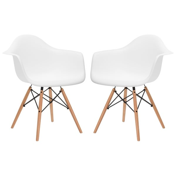 Poly and Bark Vortex Dining Arm Chair Natural Wood Leg (Set of 2)