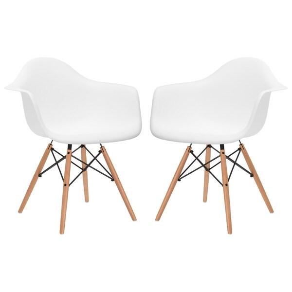 Edgemod vortex dining arm chair natural wood leg set of 2 - Natural wood dining chairs ...