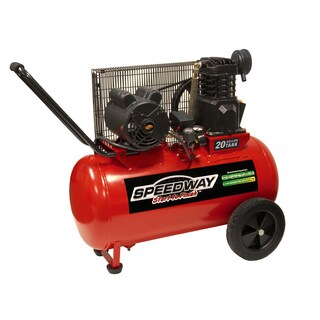 Speedway 20 Gallon Electric Powered Portable Air Compressor with Wheels - Red