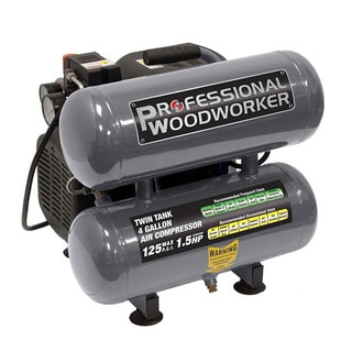 Professional Woodworker 4-gallon Twin Stack Air Compressor - Black