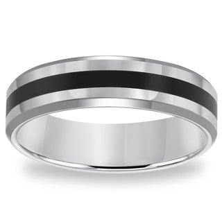 Cambridge 6mm Classic Tungsten Carbide Black Resin Inlay Comfort Fit Band (More options available)