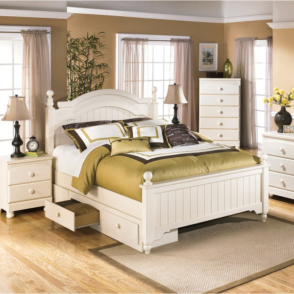 Shop ashley cottage retreat cream poster bed set with under storage free shipping today Cottage retreat collection bedroom furniture