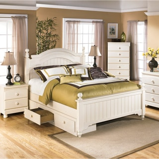 Ashley Cottage Retreat Cream Poster Bed Set with Under Storage