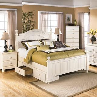 Ashley Cottage Retreat Cream Poster Bed Set with Under Storage