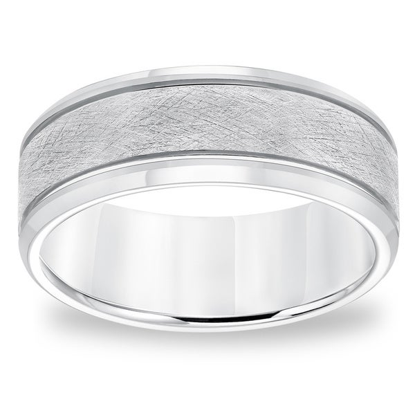 Cambridge 8mm White Tungsten Comfort-fit Carbide Brushed Band