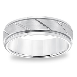 Cambridge 7mm Comfort Fit White Tungsten Diagonal Cut- Carbide Comfort Fit Band