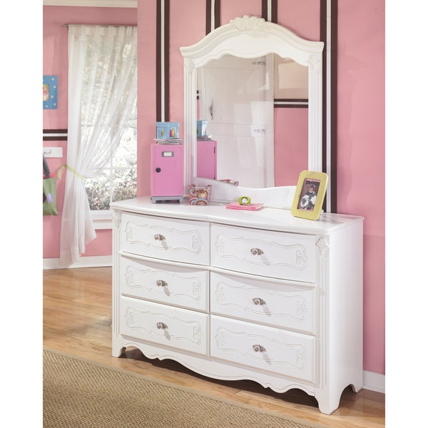 Ashley Signature Design Exquisite White Dresser And Mirror Free Shipping To