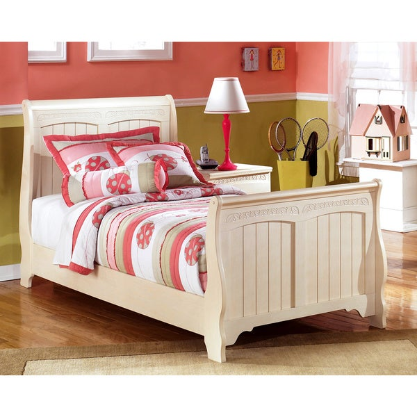 Ashley cottage retreat cream sleigh bed set free shipping today overstock 16566165 Cottage retreat collection bedroom furniture