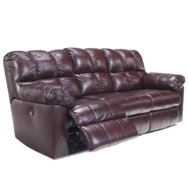 Signature Designs by Ashley Kennard Burgundy Leather Power Reclining Sofa