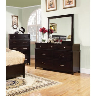 Furniture of America Aiza Modern 2-piece Espresso Dresser and Mirror Set