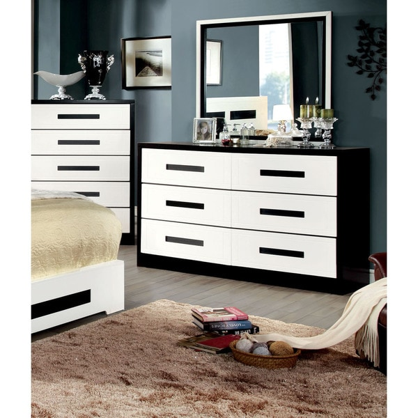 Furniture Of America Seleness Contemporary Duo Tone 2 Piece Dresser And  Mirror Set