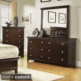 Furniture of America Tranzio Natural 2-Piece Dresser and Mirror Set