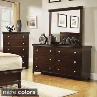 furniture of america tranzio natural 2piece dresser and mirror set