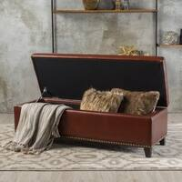 Gavin Foggy Brown Bonded Leather Storage Ottoman by Christopher Knight Home