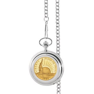 American Coin Treasures Gold-Plated Statue of Liberty Commemorative Half Dollar Pocket Watch