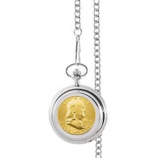 American Coin Treasures Gold-Plated Silver Franklin Half Dollar Pocket Watch