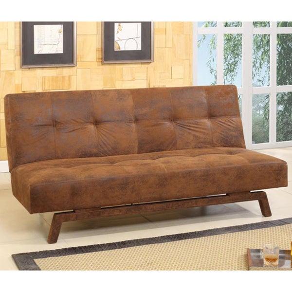 shop rustic brown microfiber klik klak sleeper sofa ships to rh overstock ca klik klak sofa bed reviews klik klak sofa bed uk