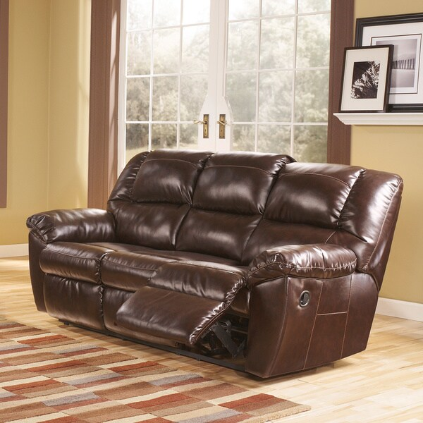 Signature Design By Ashley Rouge DuraBlend Mahogany Reclining Sofa