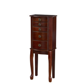 Linon Ruby Cherry Wood Jewelry Armoire