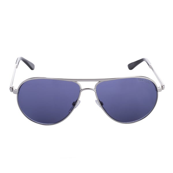Tom Ford Marko TF144 18V Unisex Silver Frame Blue Lens Aviator Sunglasses