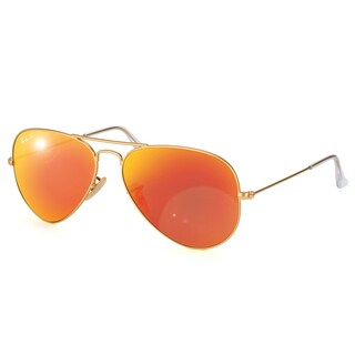 Ray-Ban Aviator RB3025 Unisex Gold Frame Orange Flash Polarized Lens Sunglasses