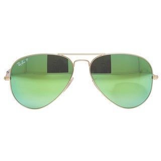 Ray-Ban Aviator RB3025 Unisex Gold Frame Green Flash Polarized Lens Sunglasses