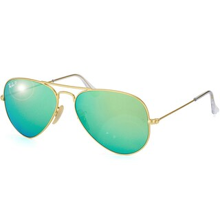 Ray-Ban Aviator RB3025 Unisex Gold Frame Green Flash Polarized Lens Sunglasses