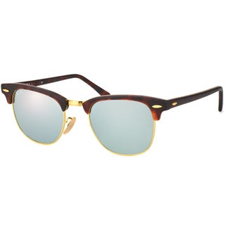 Ray-Ban Clubmaster RB3016 Unisex Tortoise Frame Silver Flash Lens Sunglasses